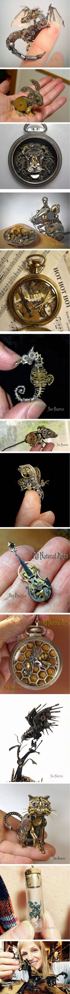 Incredible vision!  Mind & eye! This Artist Recycles Old Watch Parts Into Steampunk Sculptures (By Susan Beatrice)
