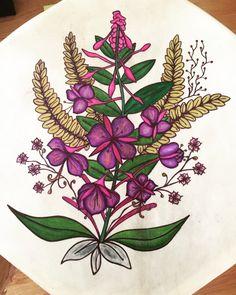 """Fireweed"" by Jaime Koebel. Ink on deer hide drum Deer Hide, Drums, Ink, Artist, Artwork, Inspiration, Biblical Inspiration, Work Of Art, Drum Sets"