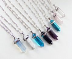 Crystal Necklace hexagonal point quartz crystals gemstone natural stone pendantnecklaces for only $5 each with your choice of clasp and color of opal white turquoise ocean blue glass sandstone amethyst blue turquoise rose quartz and crystal clear custom gifts gift ideas hipster hippie healing spiritual yoga chakra gypsy 90s grunge boho by BubbleGumGraffiti