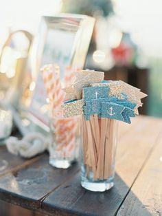 Nautical drink stir sticks and straws for beach wedding Nautical Wedding Inspiration, Nautical Wedding Theme, Wedding Designs, Wedding Styles, Diy Wedding, Wedding Day, Stir Sticks, 100 Layer Cake, My Bar