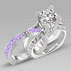 Brilliant Cut Lilac Amethyst Two-in-One Rhodium Plating Sterling Silver  Engagement Ring / Bridal Ring Set