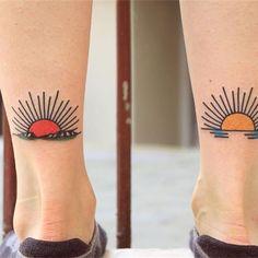 Sunrise Sunset Tattoo Chinese Sunrise Tattoo in 2020 Tribal Tattoos, Mom Tattoos, Future Tattoos, Black Tattoos, Body Art Tattoos, Small Tattoos, Tattoos Skull, Sunrise Tattoo, Sunset Tattoos