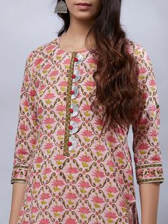 Salwar Neck Designs, Kurta Neck Design, Neck Designs For Suits, Kurta Designs Women, Dress Neck Designs, Designs For Dresses, Blouse Designs, Printed Kurti Designs, Kurta Style