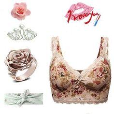 Sexy Lace V Neck Seamless Vest Bras No Rims Floral Tank Top Bra ea885994f