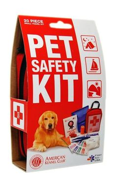 "The AKC Pet Safety Kit contains 20 items that will set your mind at ease while out hiking or camping with your dog. You'll be prepared for most minor emergencies, and it won't add much cargo. It is only 6""x4"" and fits on your belt."