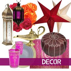 Decor ideas and items for your Arabian Nights or Moroccan theme party. Find everything you need to plan your own party at http://sparklerparties.com/arabian-nights/
