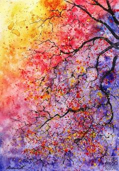 Watercolor Painting by Anna Armona. Watercolor Tree Paintings - Artist Anna Armona Imagines Vibrant Scenes of Nature (GALLERY). I couldn't find the exact name for the painting. Watercolor Landscape Paintings, Watercolor Trees, Artist Painting, Watercolor Projects, Painting Lessons, Learn Watercolor Painting, Watercolor Paintings Of Animals, Watercolor Splatter, Watercolor Paintings For Beginners