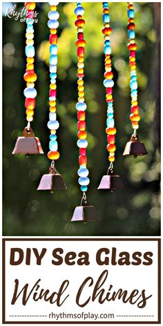 Sea Glass Wind Chimes Craft and Gift Idea - Use driftwood and sea glass beads to make this gorgeous homemade outdoor hanging wind chime for the garden, yard, or patio. Homemade Crafts, Easy Crafts, Diy And Crafts, Easy Diy, Crafts For Kids, Wind Chimes Craft, Glass Wind Chimes, Diy Locker, Diy Wood Wall
