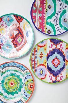 ⋴⍕ Boho Decor Bliss ⍕⋼ bright gypsy color & hippie bohemian mixed pattern home decorating ideas - Hacienda Plate Assiette Design, Studio Decor, Deco Boheme, Teller, Boho Decor, Home Accessories, Anthropologie, Decorative Plates, Ceramic Plates