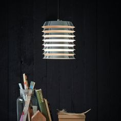 "Velvet-Point - lighting & accessories Herstal ""Lamella"" pendant lamp, available in white or chrome - Karlsruhe Pendant Light Fixtures, Pendant Lamp, Fresh Store, Point Light, Sheer Beauty, Holiday Apartments, Home Accessories, Lighting Accessories, Vintage Furniture"