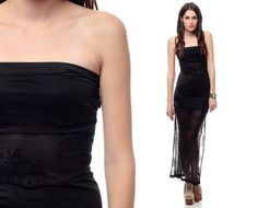 90s Lace Dress BODYCON Maxi Black PEEKABOO Sheer by ShopExile, $69.00