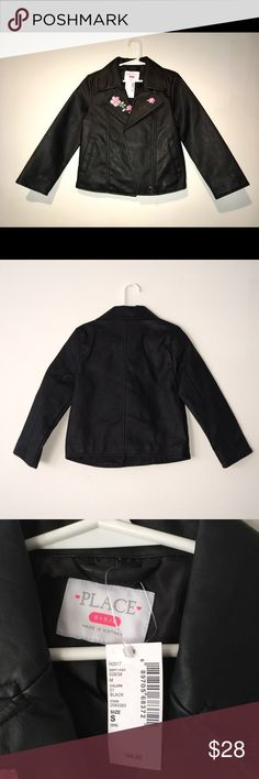 Girls Moto Jacket The Children's Place NWT Moto Style Jacket  Black with embroidered pink flowers  Shell: Rayon / Polyester Blend Lining: Polyester The Children's Place Jackets & Coats