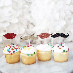 12 Glitter Mustache Man Red Lips Gold Black Cupcake Cake Topper Picks Decoration