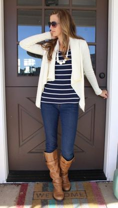 what i wore // cozy cardigan, striped top, jeans and boots