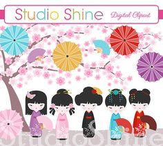 Kokeshi Doll Clipart - Cute Digital Clip Art Clipart for scrapbooking, party invitations - Instant Download Clipart Commercial Use