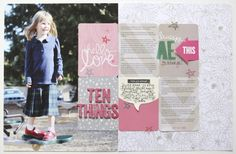2 page, 8.5x11layout using the new @Studio_Calico Printshop line and a recent 10 Things about Anna blog post. #scrapbooking