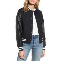 Women's Levis Mixed Media Varsity Bomber Jacket (835 MAD) ❤ liked on Polyvore featuring outerwear, jackets, navy, navy blue jackets, navy striped jacket, navy varsity jacket, teddy jacket and blue varsity jacket