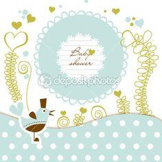 chuveiro de bebê fofo — Ilustração de Stock #8879734