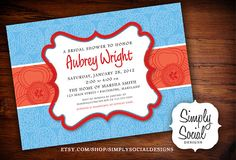 Red and Turquoise Baby Shower Bridal Shower by SimplySocialDesigns, $18.00
