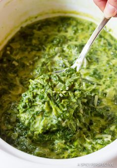 The Best Creamed Spinach Recipe - A fabulous Slow Cooker or Stovetop Creamed Spinach Recipe that pairs well with comforting holiday meals.
