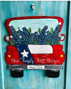 Excited to share this item from my #etsy shop: texas truck, bluebonnets, texas decor, texas, texas flag, texas door hanger, spring decor, simmer decor Teacher Door Hangers, Teacher Doors, Texas Crafts, Texas Flags, Texas Signs, Blue Bonnets, Trucks, Dinosaur Party, Dollar Store Crafts