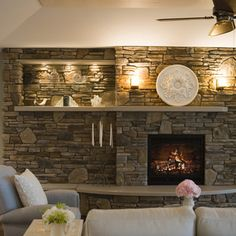 Off Center Fireplace Design Idea -  This would take some doing at my house because of the alcove we have, but I love the look of this.