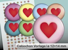 """Digital Collage Sheet """"Hearts"""" 12 and 14 mm"""