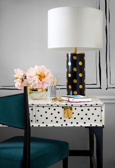 kate spade home: polka dot desk + polka dot lamp // more on quaintrelle.ca