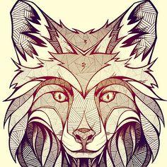 Geometric wolf illustration