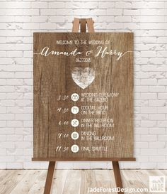 Rustic Wedding Timeline Sign / Wedding Itinerary Agenda, Icons / Distressed Rustic Wood, Heart ▷ Printable File {or} Printed & Shipped by JadeForestDesign on Etsy