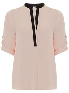 Blush tipped placket shirt