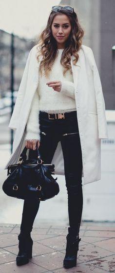 Miu Miu purse..!!! #Fluffy white Sweater #White Long Line Coat #Zipped Pocket Skinnies