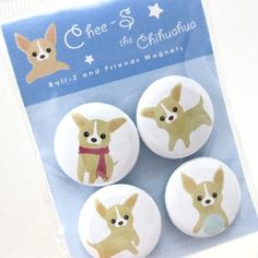 Chihuahua Magnets  CheeS the Chihuahua Puppy  MICS001 by maustudio, $8.00
