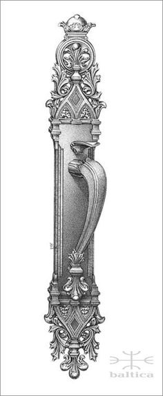 Davide Leaf thumblatch - Custom Door Hardware. This actual size artist drawing is available from Baltica on a complimentary basis. Contact www.baltica.com