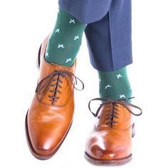 Dapper Classics Hunter Green with Sky Blue Flying Geese Fine Merino Wool Linked Toe Sock