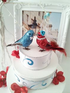 blue and lady and red glitters love bird cake by MissRoseDanae, $25.00