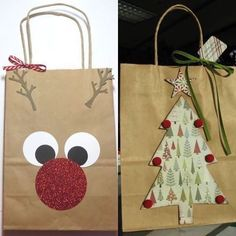 Sacolinhas decoradas #inspiração #escola #natal #preschool #crafts #aartedeensinareaprender #christimas  Já conhece... Christmas Gift Bags, Homemade Christmas Gifts, Christmas Is Coming, Christmas Crafts For Kids, Xmas Crafts, Christmas Diy, Diy And Crafts, Christmas Decorations, Paper Bag Gift Wrapping