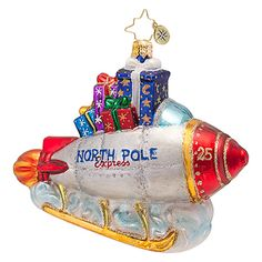 The Christopher Radko North Pole Express Ornament is part of the 2013 Sleigh Collection of Radko Ornaments.