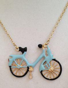 Blue Bike Pendant Necklace by joytoyou41 on Etsy, $30.00