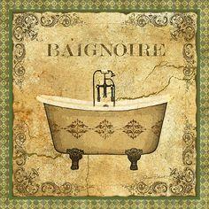 Vintage Baignoire Print By Jean Plout