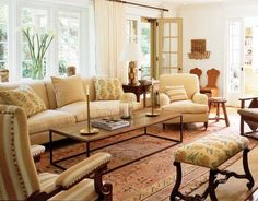 living room white couch cottage | English Style Cottage Style - Susan Stroman's Country House - Robert ...