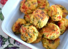 feta,quinona and red pepper spinach balls