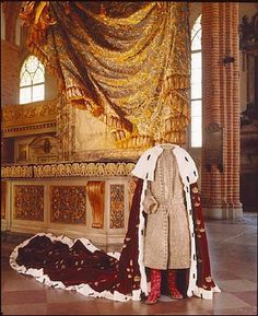 Coronation Mantle of Adolf Frederick's coronation dress, (confusingly, shown with the coronation robe of his son, Gustav III) c. 1751.