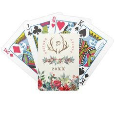 Christmas rustic family monogram name watercolor bicycle playing cards