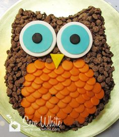 Looks like raisins + ginger snap cookies for feathers. easy owl cake includes template and instructions