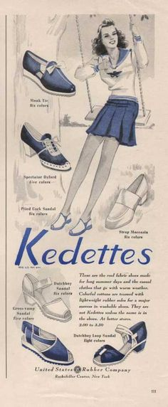 Kedettes, 1941 ad vintage fashion style photo illustration print ad shoes sneakers tennis shoes casual sports active wear blue white sandals 40s war era swing