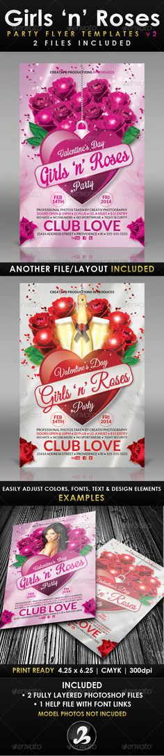 Girls 'n' Roses Valentine's Day Flyer Template 2 — Photoshop PSD #ladies #Dozen Roses • Available here → https://graphicriver.net/item/girls-n-roses-valentines-day-flyer-template-2/6537005?ref=pxcr