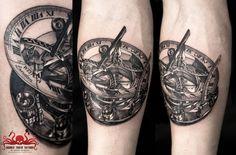 Compass Sundial Tattoo by Mehdi Rasouli broken tooth tattoos Sundial Tattoo, Compass Tattoo, Tooth Tattoo, Sleeve Tattoos, Tattoos For Guys, Tatting, Teeth, Black And Grey, Ink