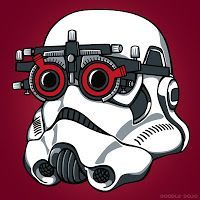 """StormTrooper EyeTest: """"The Emperor commands that all troopers immediately report to the optometry level for eye tests. If only random eye testing had been introduced earlier, the whole sorry saga might have turned out differently. Optometry Humor, Optometry Office, Comic Art, Eye Facts, Good Advertisements, Optical Shop, Vision Eye, Eye Doctor, Care Logo"""