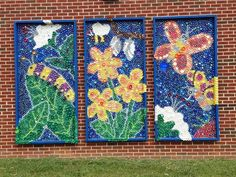 outdoor landscape recycled materials mural